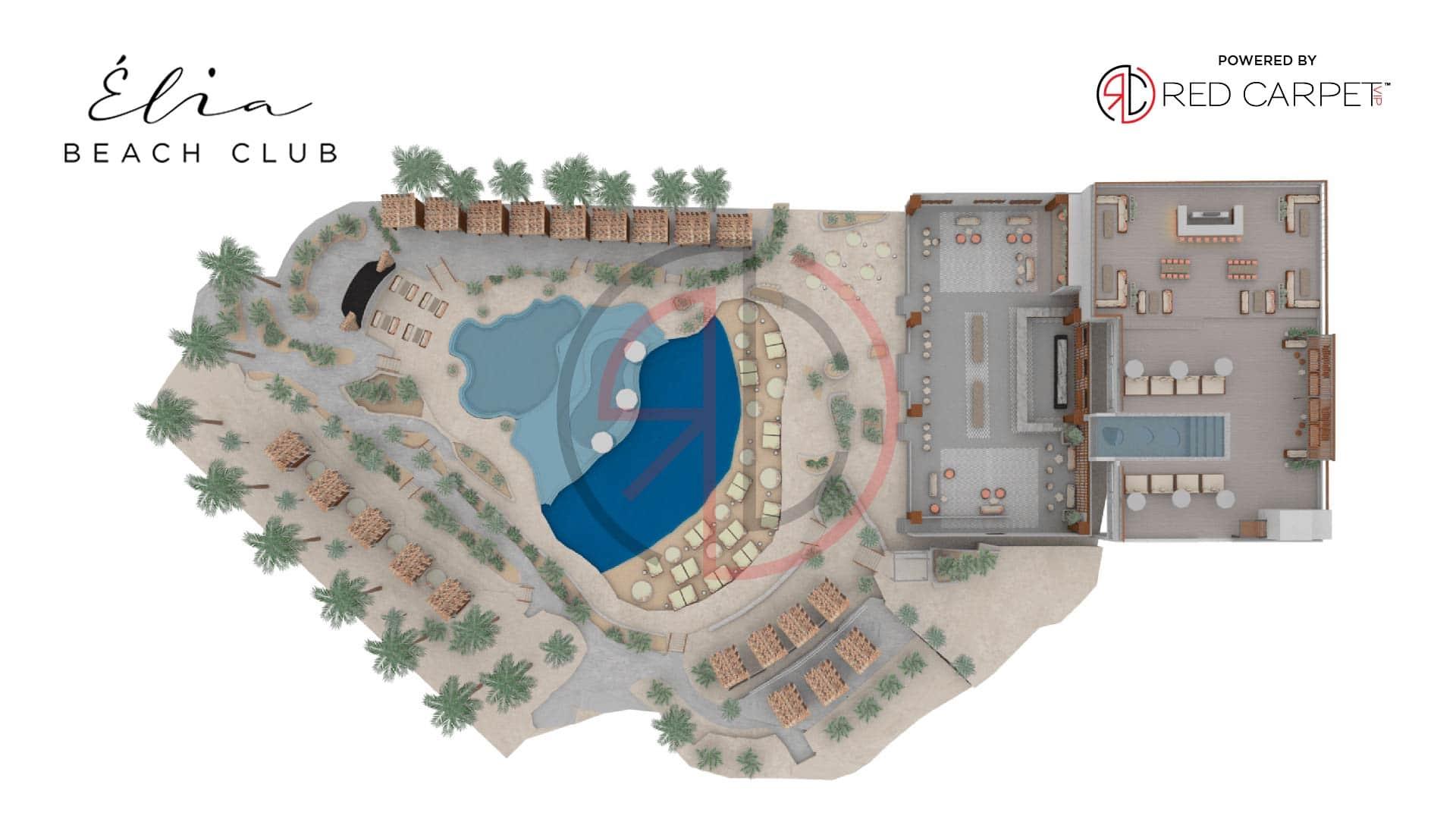 elia beach club las vegas venue map